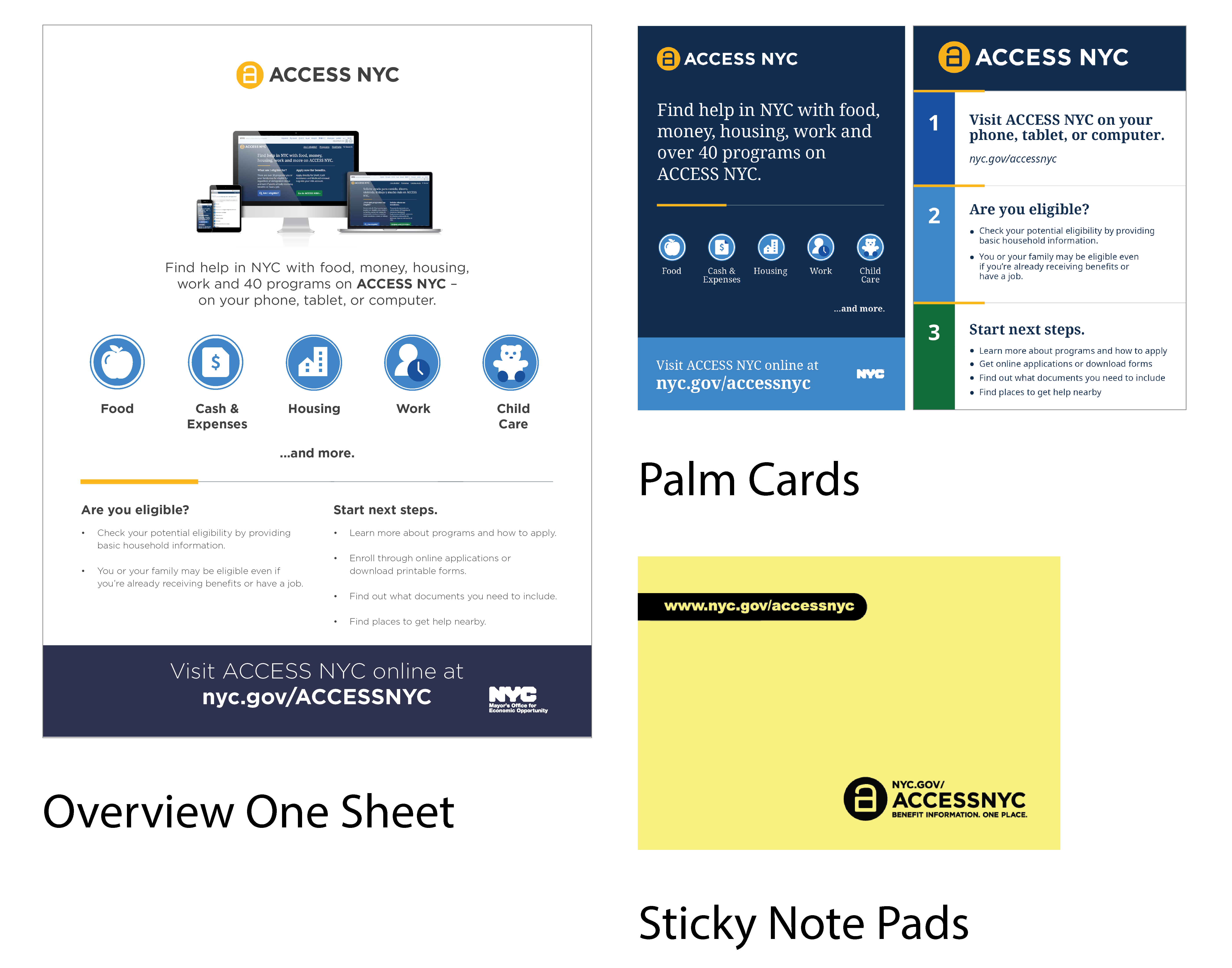 Five ACCESS NYC promotional materials in a row including an overview one sheet, small poster, big poster, palm cards, and sticky note pads.
